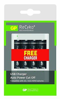 GP USB Battery Charger with 4 x AA Rechargeable Recyko+ Pro Batteries 2000mAh