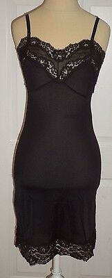 Vintage Full Slip BLACK LACE kayser 1950s Pinup Dress Nighty Lingerie 32 S