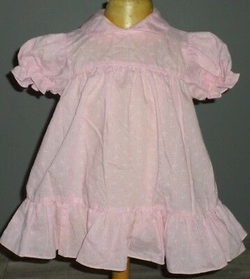Adorable Vintage Toddler Infant Pink Calico Tulip Flower Dress Ruflles