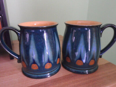 Denby Tudor Shape Green Flame pattern Two Mugs