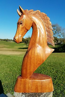 "Gorgeous Design 15.5"" Tall Handcarved Mahogany Wood ""horse Head"" Statue"