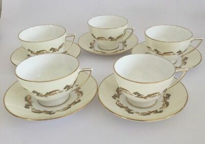 Minton Gold Laurentian English Fine Bone China Cup & Saucer - H 5184 - Set Of 5