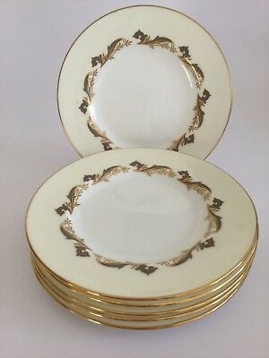 "Minton Gold Laurentian English China 6 1/4"" Side Tea Plates - H 5184 - Set Of 6"