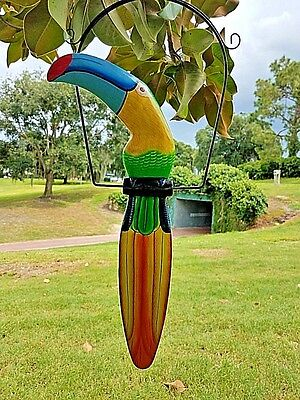 """Unique Green 19"""" Handcarved & Painted Wood Hanging Toucan W/ Metal Perch & Hook!"""