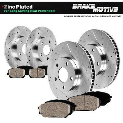 Front+Rear Drilled Slotted Brake Rotors & Ceramic Pads 2014 2015 2016 Mazda 3
