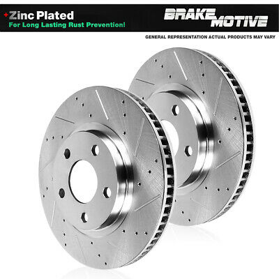 Front Drilled & Slotted Brake Rotors BMW 535 640 Series Active Hybrid 5