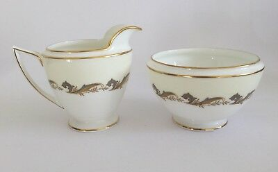 Minton Gold Laurentian English Fine Bone China Milk Jug & Sugar Bowl - H 5184