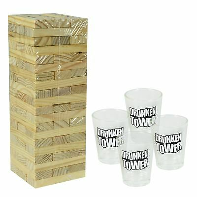 Novelty Wooden Tumble Tower Shots Drinking Game Adult Drink Glasses Party Fun