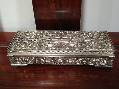 c 1992 Vintage Godinger Silver Jewelry Box Embossed Case w/Mirror