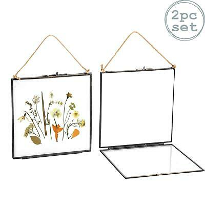 Hanging Photo Frame Vintage Glass Picture Square Display 8x8 Photos - Pack of 2