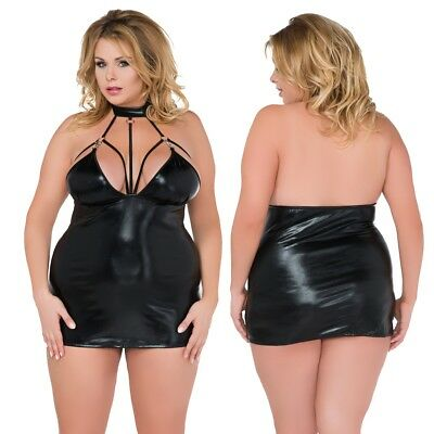 Plus Size PVC Kinky Black Dress with Collar 18/20 22/24 26/28 Fetish Z5028