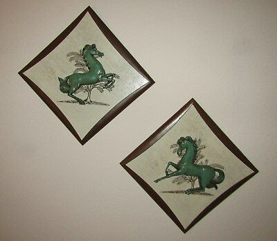 vtg mid century wood Burwood Products horse stallion wall art 1960's lot of 2