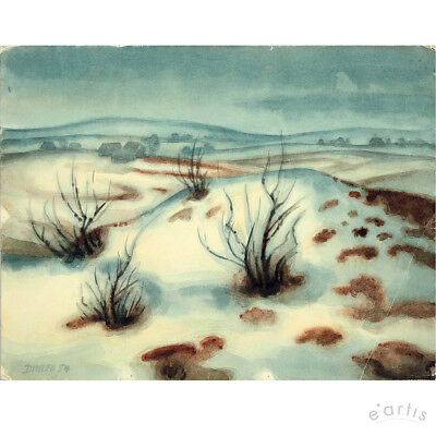 Johannes Dinter Original Aquarell Winter Erzgebirge Landschaft Vp: 500,-€