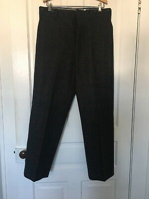 Vtg LL Bean grey red striped wool hunting 40s work trousers pants