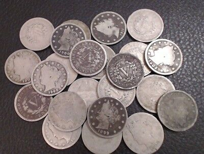 1883-1913 Lot of (5) Liberty V Nickels Mixed Dates ~ Old U.S. Historic Coins