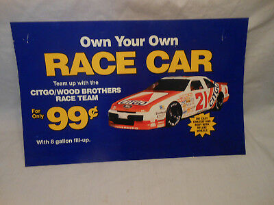 Citco Wood Brothers Race Team Car Sign /Cardboard /Gas Station Display /Rare