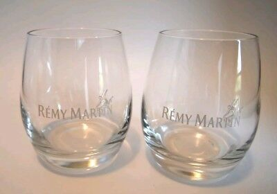 Set Of 2 REMY MARTIN Collectible Etched Stemless Cognac Round Tumbler Glasses