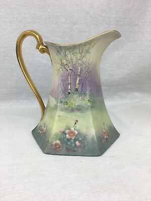 Pickard China Antique Hand Painted & Signed Matte Finish Pitcher with Gold Trim