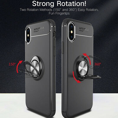 Magnetic Suction Bracket Phone Case Cover For iPhone X 8 7 6 Plus Ring Kickstand