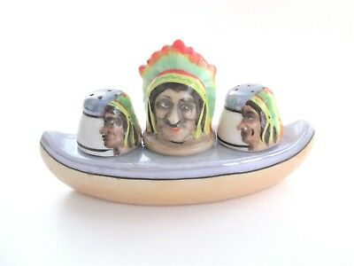 Lusterware Japan Condiments Set Mustard Salt Pepper Boat Chiefs Vtg 1930s
