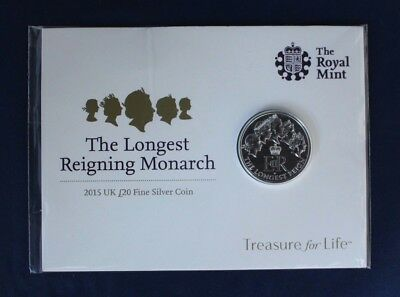 "2015 Royal Mint Silver £20 coin ""Longest Reign"" on Card - Sealed   (H3/19)"