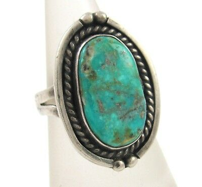 Vintage Navajo Handmade Solid 925 Sterling Silver Turquoise Ring 6 | J L