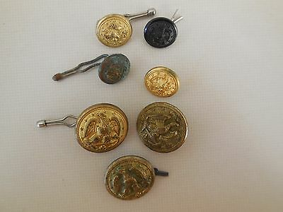 Lot Of 7 Vintage Military Brass Buttons Large & Small