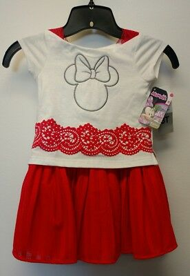 NEW Girls Disney Junior Minnie Mouse Red & White Tulle Dress Size  3T 4T or 6X