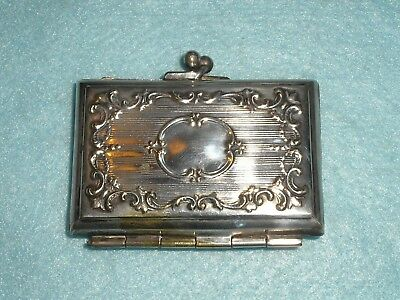 Antique Silver Plated CARD CASE DANCE LIST PURSE STYLE  Ornate Scroll Decoration