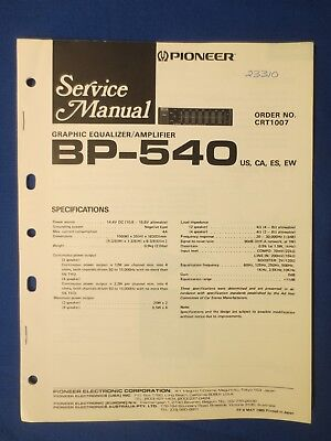 Pioneer service manualbp 320 booster amplifierampcar unit pioneer bp 540 eq service repair manual factory original the real thing asfbconference2016 Images