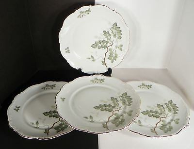Mitterteich Green Leaves Dinner Plate (s) LOT OF 4 Goldtone Rims Lot B