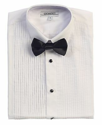 Boy Tuxedo Shirt Dress White Long Sleeve Bow Tie Kids Toddler Size 2T- 18 New