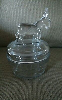 Vintage Clear Glass Powder Jar - Depression Glass - Democrat Donkey