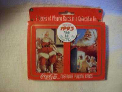 Coca Cola Two Decks Playing Cards in Collectible Tin Unopened 1995 Xmas