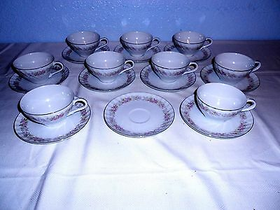 Dansico Teahouse Rose Japan Fine China Cups and Saucers (9 Sets)  w/Silver Trim