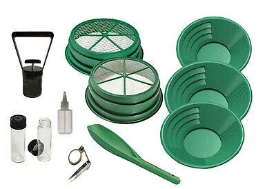 11pc Gold Panning Set for Mining Prospecting Gold Pan Sifter, Tools, Premium Set