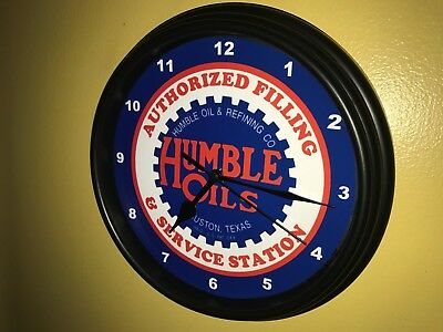 Humble Texas Oil Gas Service Station Mechanic Garage Man Cave Wall Clock Sign
