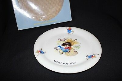 vintage Nursery Rhyme childs baby plate LITTLE BOY BLUE 19CM boxed hook stand