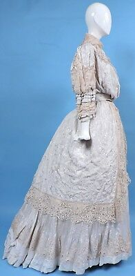Victorian Rich Canton Embroidered Silk & Ecru Hand Made Lace 2 Pc Dress W Train