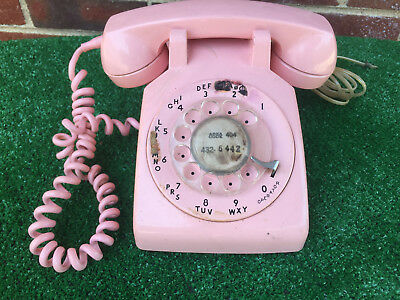 Vintage Pink Western Electric Bell System 500 5-72s Rotary Desk Telephone Nice