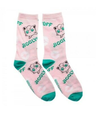 Nintendo Pokemon Jigglypuff Logo Jrs Crew Socks Womens All Over Print Cartoon