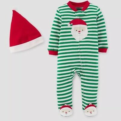 3 month Unisex Just One You Carter's Xmas Santa green striped Footed Romper hat