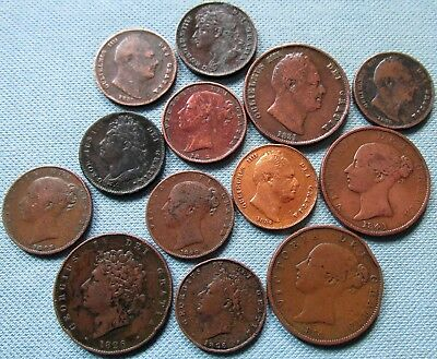 Lot of 1800s Great Britain Copper Farthing Halfpenny 1822-1853 Old Coins
