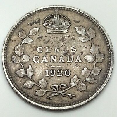 1920 Canada Small 5 Five Cents Silver Circulated Canadian Coin D429