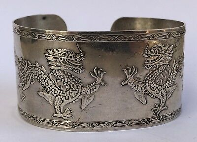 Export Old Chinese Sterling Silver Dragon Figural Etched Wide Cuff Bracelet