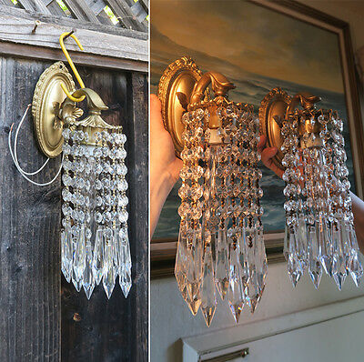 Pair Vintage Sconces French Brass bronze fountain waterfall Crystal wall lamps