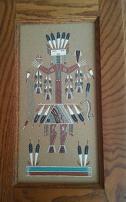 NAVAJO sand painting signed and framed 1989 WILFRED BEN