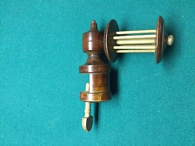 Antique Wood Sewing Wooden Screw clamp with Spool Rare