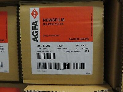 AGFA NEWSFILM Red Sensitive Film Daylight Loading 24 in by 197 ft EFUME EXP 2016