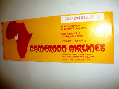 CAMEROON AIRLINES PASSENGER TICKET AND BAGGAGE CHECK. ancien billet CAMEROUN